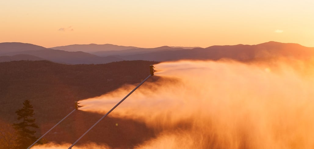 snowmaking at sunrise