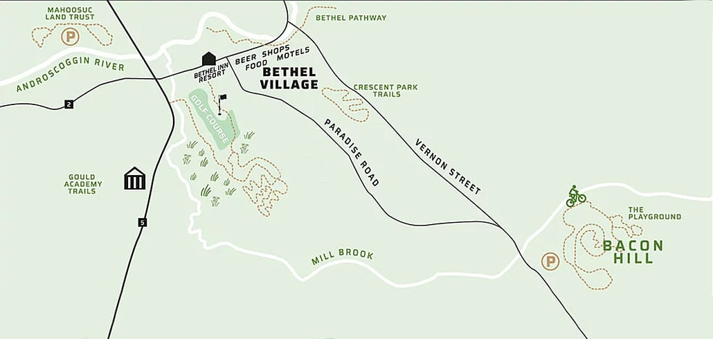 Mountain bike trails in the Sunday River and Bethel, Maine