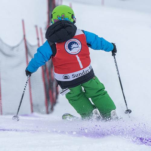 Skier on race course